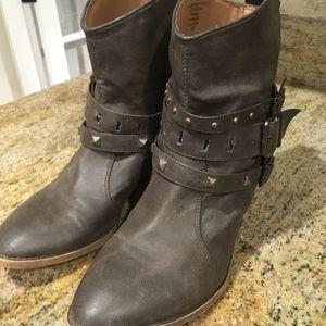 Brown short booties size 8